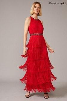 Phase Eight Red Albertina Fringe Maxi Dress