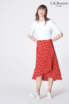 L.K.Bennett Pink Simpson Silk Skirt