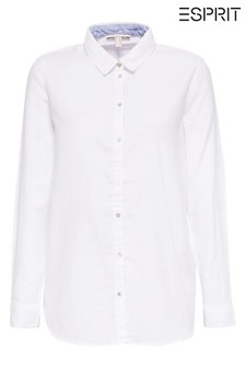 Esprit White Chambray Blouse With Contrast Details