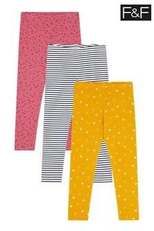 F&F Multi Pink 3 Pack Heart Spot Leggings