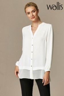 Wallis Ivory Longline Chiffon Mix Shirt