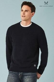 Crew Clothing Blue Multi Texture Crew Neck Sweater