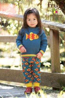 Frugi GOTS Organic Harem Style Trousers In Fish Print