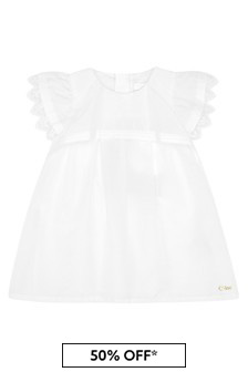 Chloe Kids Girls Cream Cotton Dress