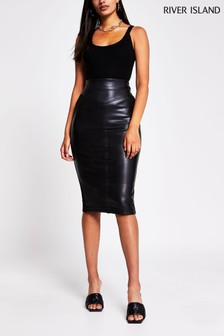 River Island Black Black Pu Ponte Hybrid Pencil Skirt