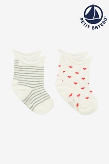 Petit Bateau White Striped And Hearts Socks Two Pack