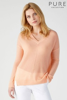 Pure Collection Pink Gassato Tipped V-Neck Sweater
