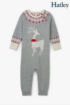 Hatley Grey Mistletoe Deer Baby Sweater Romper