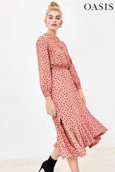 Oasis Pink Spot Shirt Dress