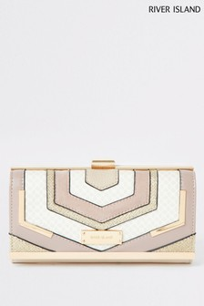 River Island Cream Monogram Clip Top Bag