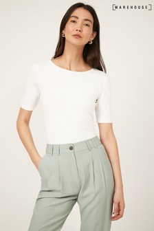 Warehouse White Scoop Back Short Sleeve Top