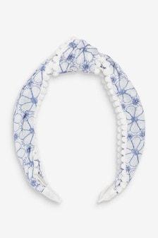 Embroidered Fabric Pom Trim Headband