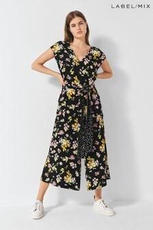 Next/Mix Floral Print Cropped Jumpsuit