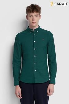 Farah Green Brewer Slim Fit Long Sleeve Shirt