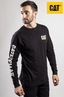 CAT® Black Trademark Banner Long Sleeve T-Shirt