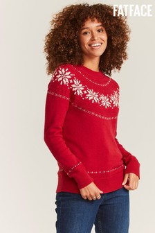 FatFace Red Snowflake Pointelle Jumper