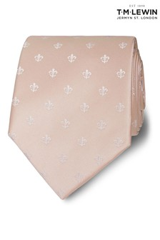 T.M. Lewin Wide Champagne And White Fleur De Lys Silk Tie