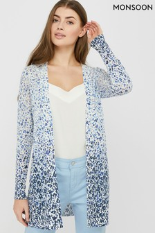 Monsoon Blue Poppy Print Linen Blend Cardigan