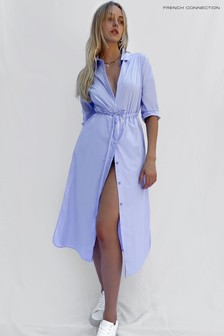 French Connection Blue Rhodes Drawcord Midi Dress