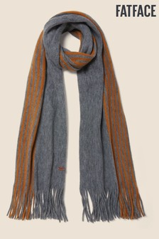 FatFace Grey Brushed Stripe Scarf