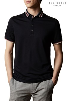 Ted Baker Teacups Short Sleeved Polo With Striped Collar