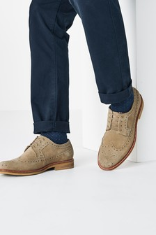 Contrast Sole Suede Brogue Shoes
