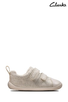 Clarks Silver Roamer Craft T Canvas Velcro Shoes