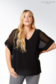 Live Unlimited Black Roll Sleeve Blouse