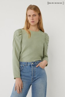 Warehouse Green Ruched Sleeve Top