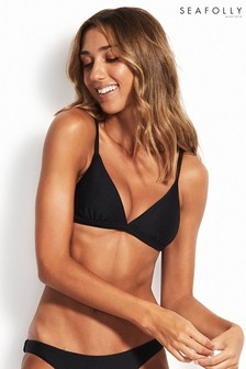 Seafolly Black Essentials Fixed Tri Bikini Top