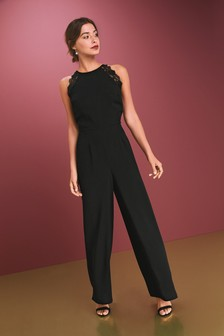 Lace Trim Halter Jumpsuit