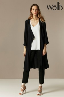 Wallis Black Pleat Back Duster Jacket