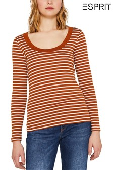 Esprit Long Sleeved Striped T-Shirt With Deep Round Neck
