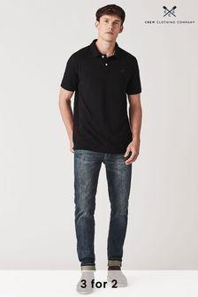Crew Clothing Company Black Classic Pique Polo