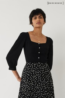 Warehouse Black Square Neck Puff Sleeve Top