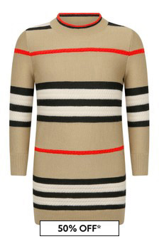 Girls Beige Check Wool & Cashmere Dress