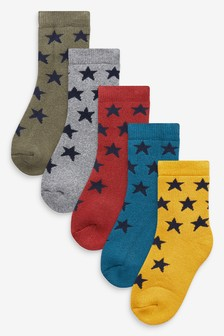 5 Pack Cotton Rich Star Socks (Younger)