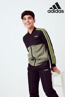 adidas Khaki/Black 3 Stripe Tracksuit