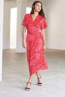 Print Wrap Midi Dress