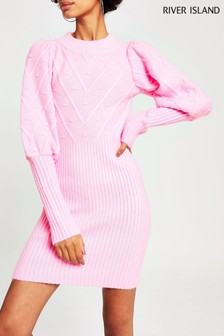 River Island Pink Juliet Puff Sleeve Dress