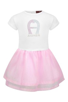 Baby Girls White/Pink Shimmer Dress