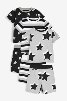 3 Pack Star Print Short Pyjamas (9mths-12yrs)