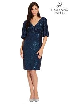 Adrianna Papell Blue Sequin Midi Dress