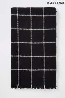 River Island Black Window Check Blanket Scarf