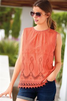 Sleeveless Broderie Trim Top