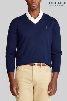 Polo Golf by Ralph Lauren Navy V-Neck Logo Jumper