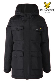 Lyle & Scott Black Heavyweight Longline Padded Jacket
