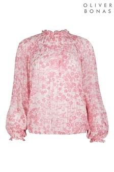 Oliver Bonas Pink Bamboo Floral Top