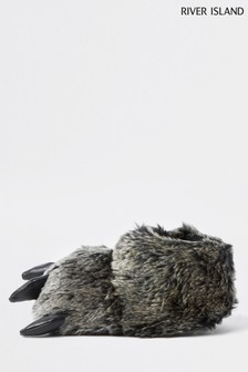 River Island Grey Monster Foot Slippers