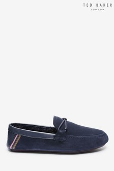 Ted Baker Navy Moccasin Slippers